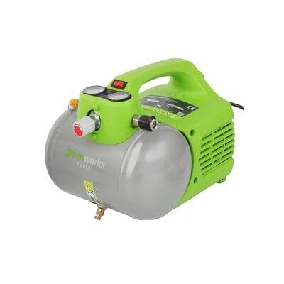 Электрический 300Вт воздушный компрессор с 6л ресивером Greenworks