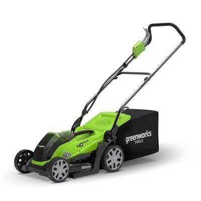 Аккумуляторная газонокосилка GreenWorks G40LM35 (2501907), 40V, шириной 35 см