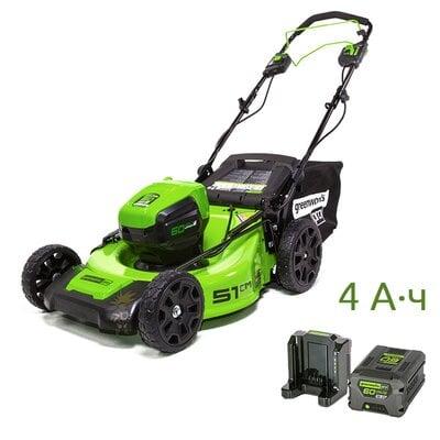 Аккумуляторная самоходная газонокосилка GreenWorks GD60LM51SP (2505607UB) Pro, 60V Max-Volt, шириной 51 см, с АКБ 4 Ач и ЗУ