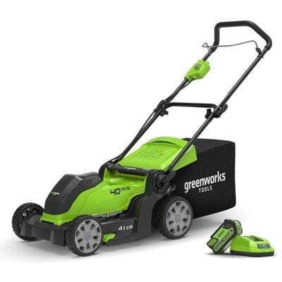 Аккумуляторная газонокосилка GreenWorks G40LM40 (2504707UF), 40V, шириной 40 см, с АКБ 6 Ач и ЗУ
