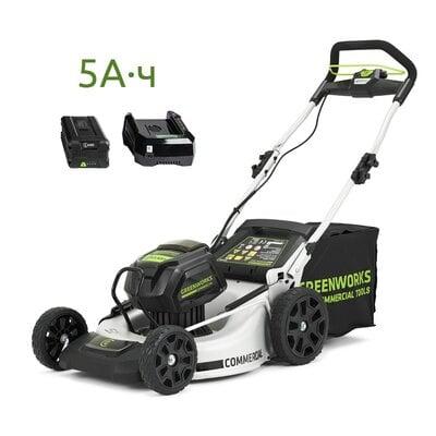 Аккумуляторная газонокосилка GreenWorks GC82LM51 (2502007UB) Commercial, 82V, шириной 51 см, с АКБ 5 Ач и ЗУ