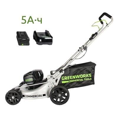 Аккумуляторная газонокосилка GreenWorks GC82LM46 (2502407UB) Commercial, 82V, шириной 46 см, с АКБ 5 Ач и ЗУ