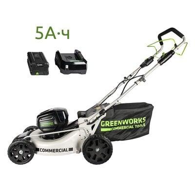 Самоходная аккумуляторная газонокосилка GreenWorks GC82LM46SP (2502507) Commercial, 82V, шириной 46 см, с АКБ 5Ач и ЗУ