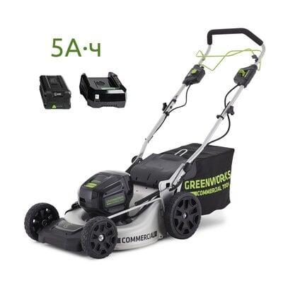 Самоходная аккумуляторная газонокосилка GreenWorks GC82LM51SP (2502607UB) Commercial, 82V, шириной 51 см, с АКБ 5 Ач и ЗУ